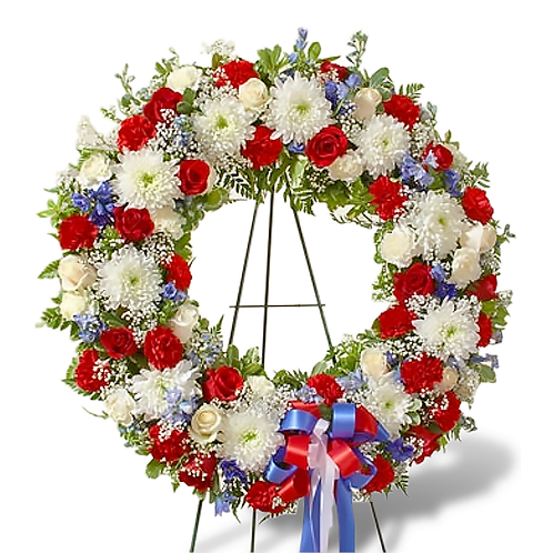 WREATH IN BLUE WHITE AND RED COLOUR