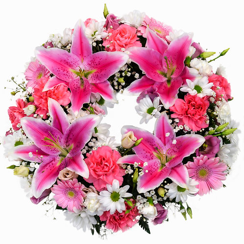 PINK LILY AND CARNATION WREATH