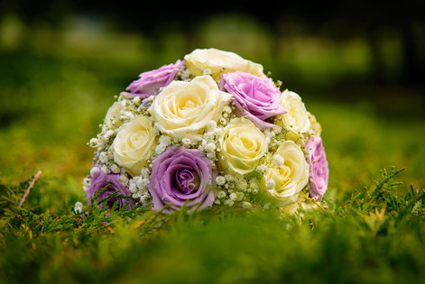 Cream and lilac roses bridal bouquet