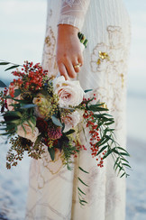 Loose red and white bridal bouquet