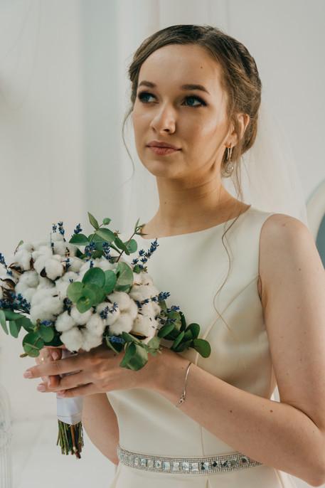 Cotton flower bridal bouquet