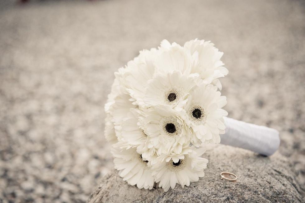 White gerbera bridal bouquet