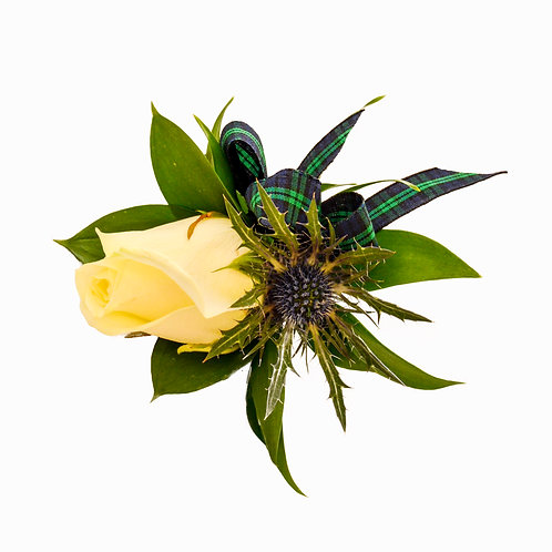THISTLE AND CREAM ROSE BUTTONHOLE