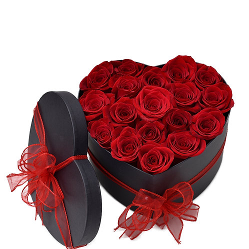 HEART RED ROSES HAT BOX