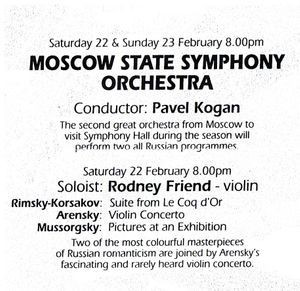 Moscow State Orchestra 1st UK appearance-Rodney Friend
