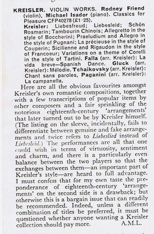 Gramophone review of Kreisler recording-Rodney Friend