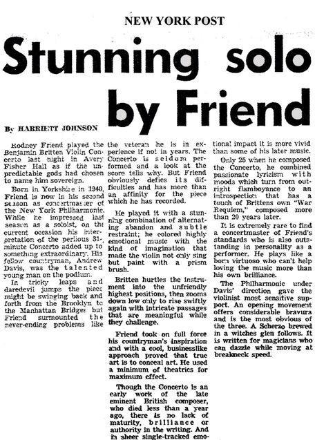 Britten concerto 1st performance with New York Phil-Rodney Friend