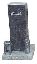 Urnengrab aus Granit mit Laterne und Vase