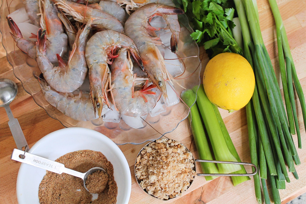 shrimp, lemon, green onion, bread crumps, celery, parsley, old bay seasoning