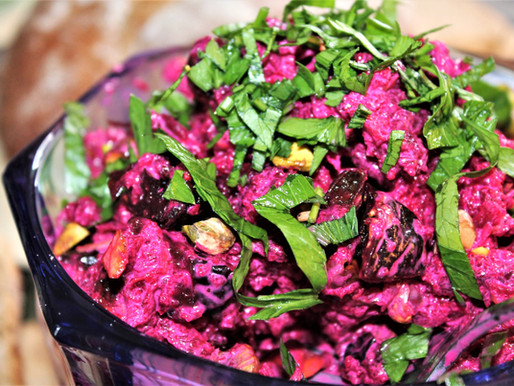 Beet Salad with Prunes and Pistachios (VIDEO)