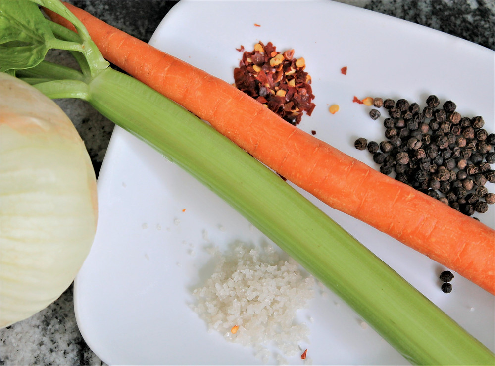 celery, carrot, onion, spices