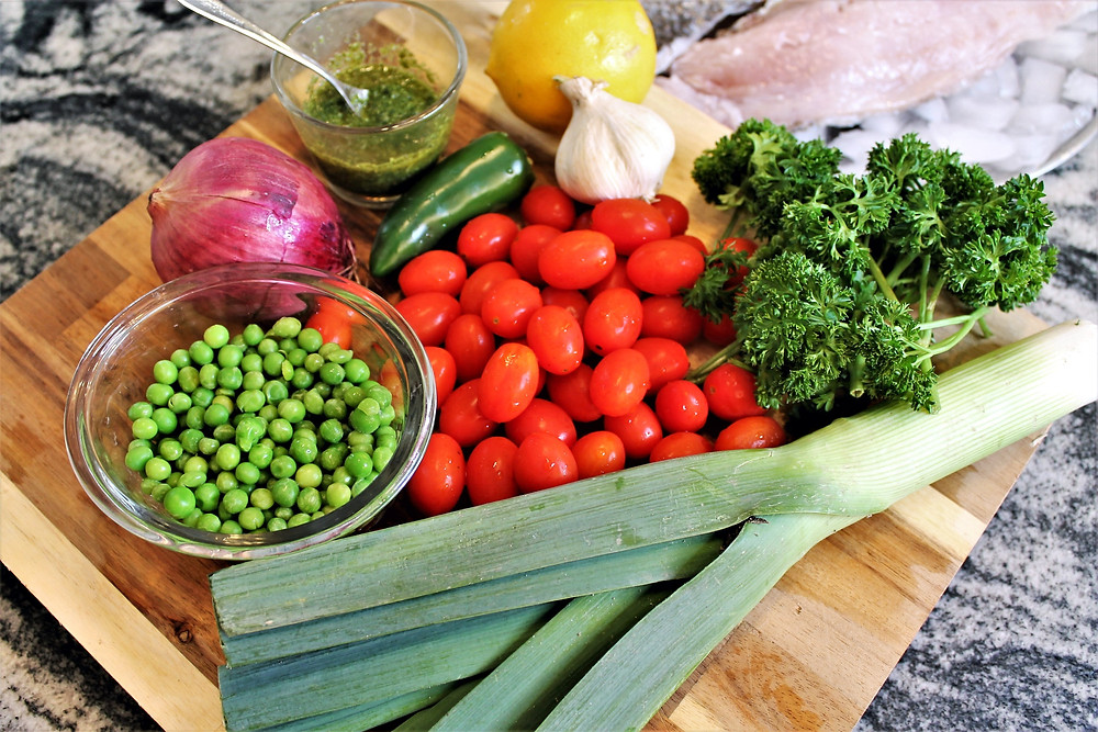 vibrant veggies on a wooden cutting board