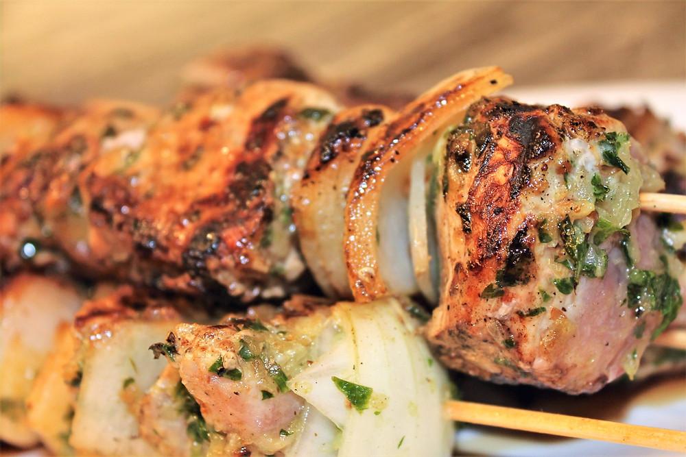 Ukrainian-style shish kebabs (shashlik) on wooden skewers