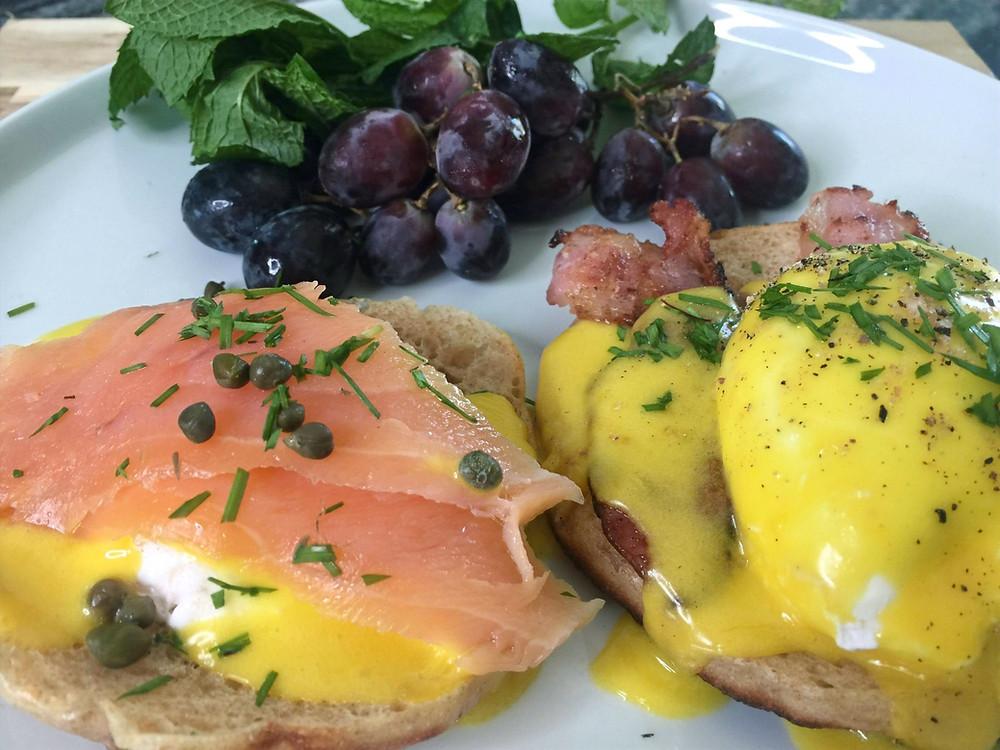 Homemade Eggs Benedict made using homemade sourdough English muffins and homemade Hollandaise sauce