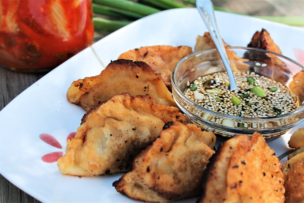 dumplings on a plate with dipping sauce