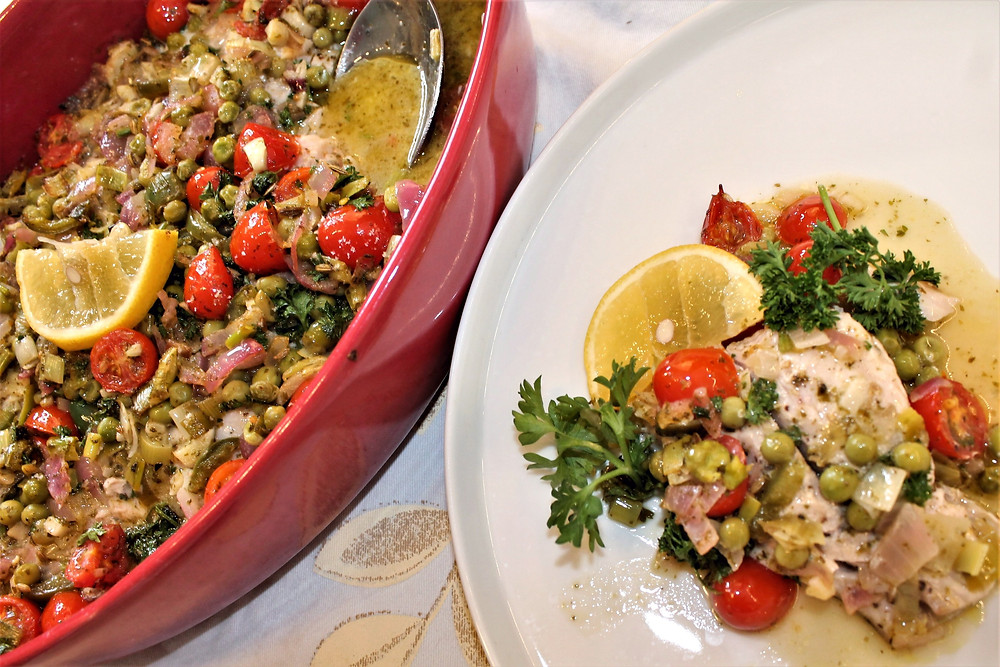 fish in casserole dish and on plate