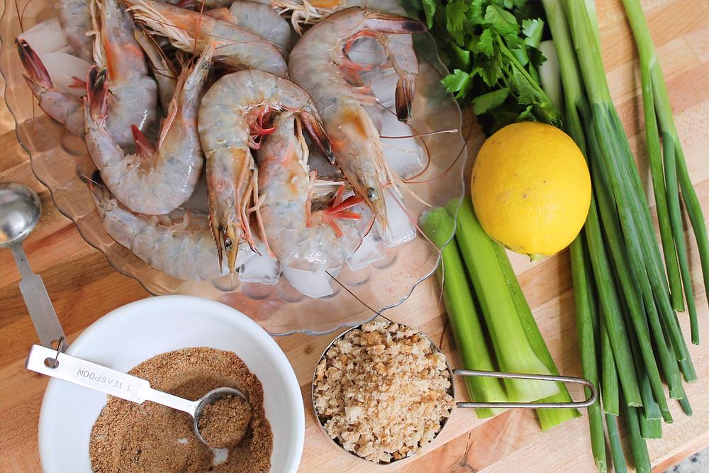 raw shrimp, lemon, green onion, celery, bread crumps, parsley, old bay spice