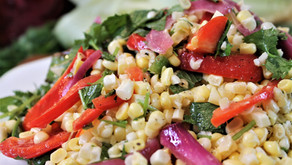 Raw Corn Salad with Fermented Onions, Poblano and Herbs. Vegan (VIDEO)