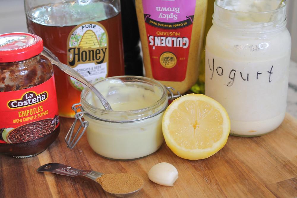 chipotles, mayo, lemon, garlic, yogurt, honey, mustard, cumin