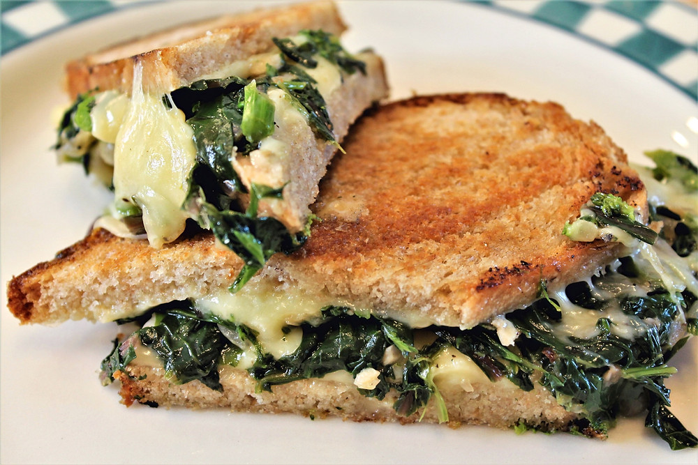 panini with greens and cheese