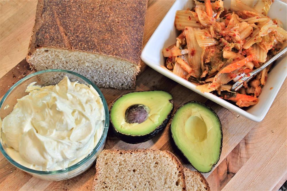 aioli, avocado, kimchi, bread