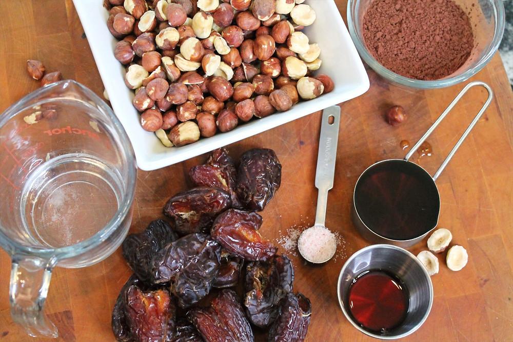 coconut oil, dates, hazelnuts, salt, cocoa,vanilla extract, maple syrup