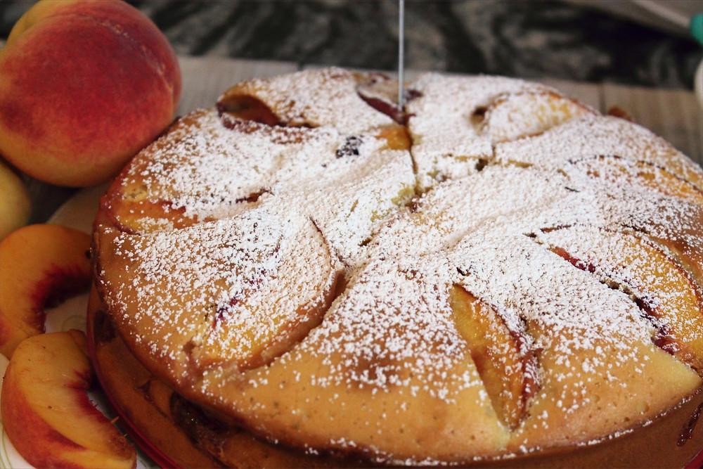 peach cake and peach