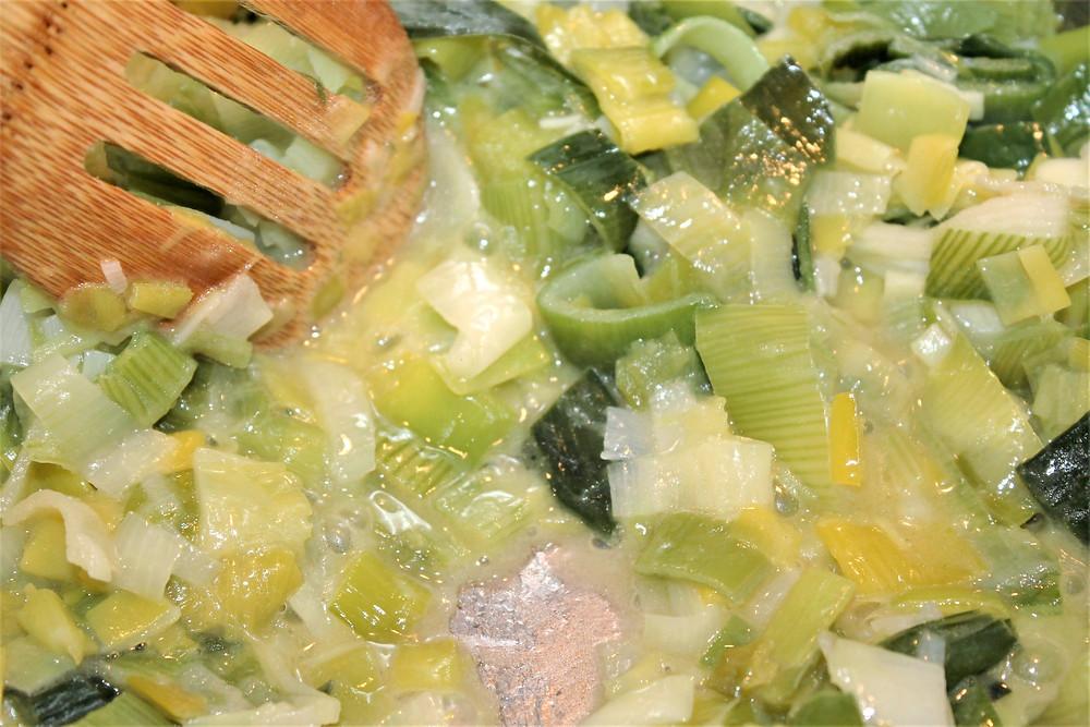 cooked leeks