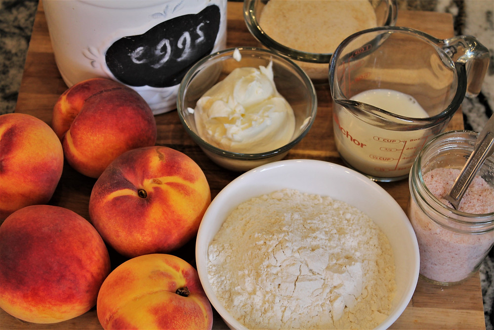 peaches, eggs, flour, sour cream, milk, salt, sugar