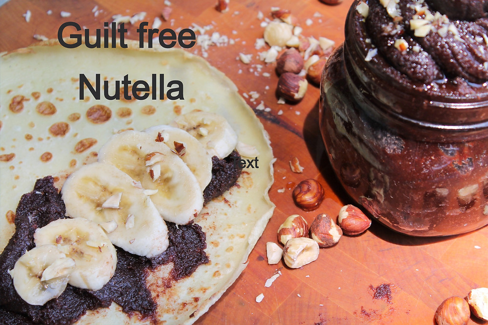 crepe with Nutella and banana slices, hazelnuts and jar