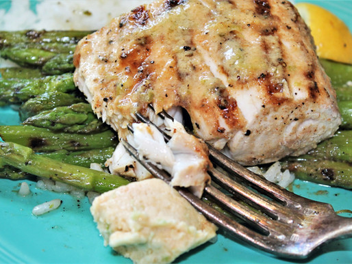 Miso - Butter Grilled Mahi Mahi with Asparagus (VIDEO)