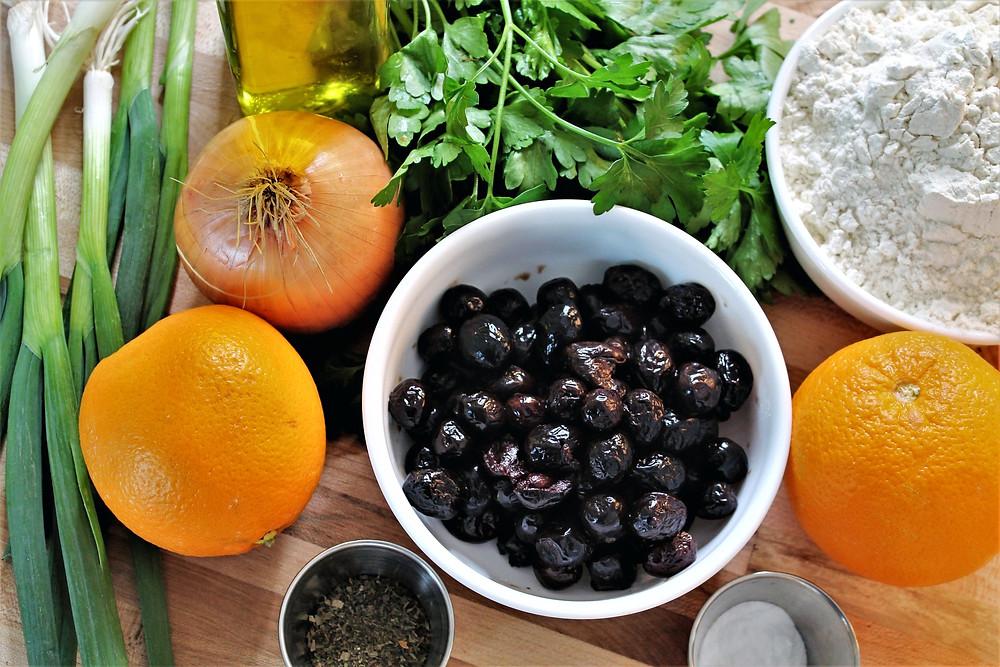 parsley, black olives, onion, orange, green onion, flour