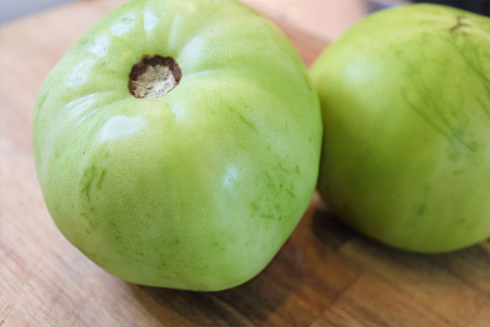 two green tomatoes