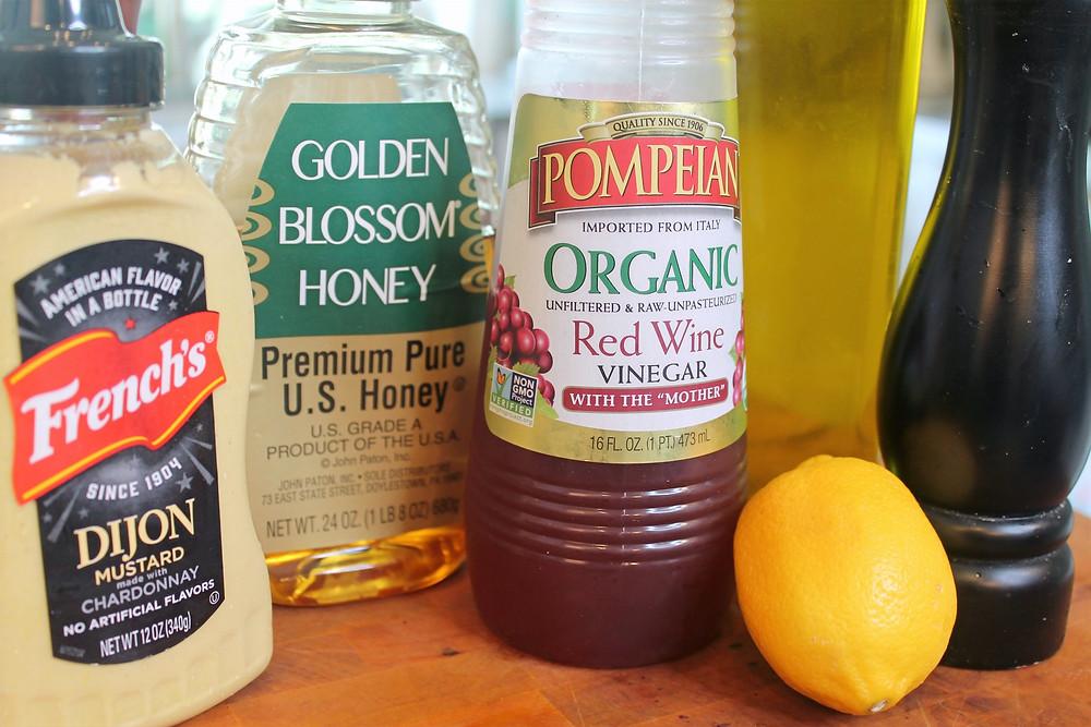 mustard, honey, red wine vinegar, lemon, olive oil, black pepper