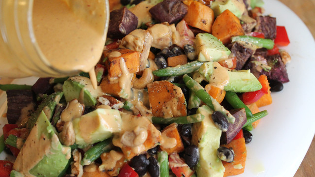 Sweet Potato Salad with Black Beans and Chipotle Dressing (VIDEO)