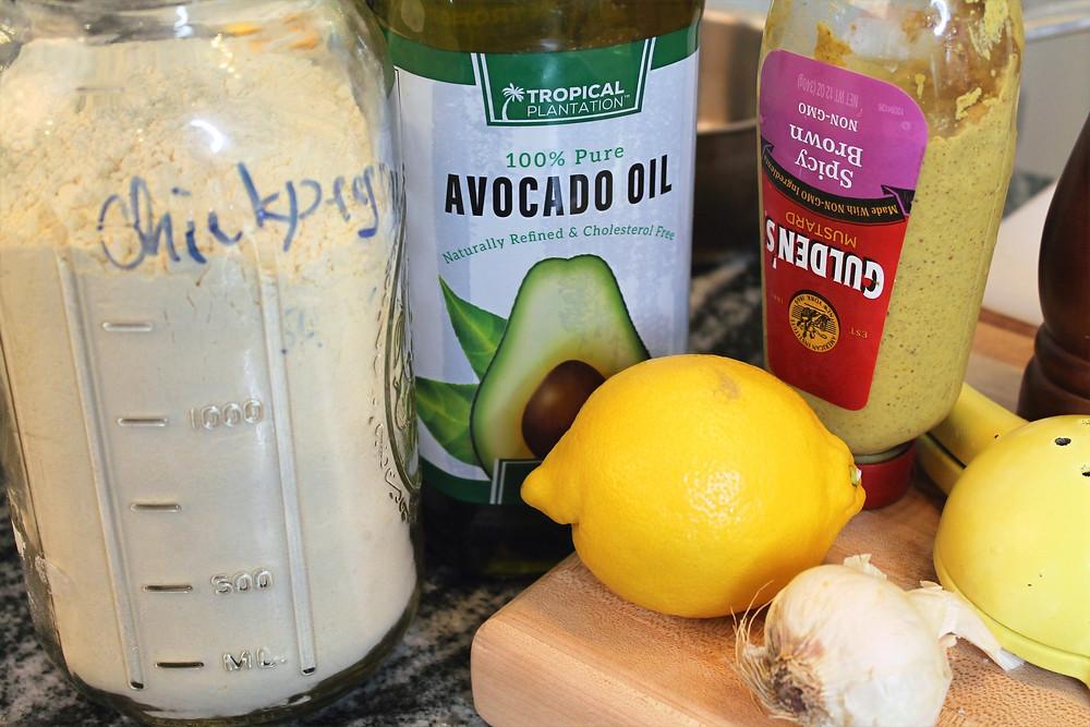 chickpeas flour, lemon, avocado oil, garlic