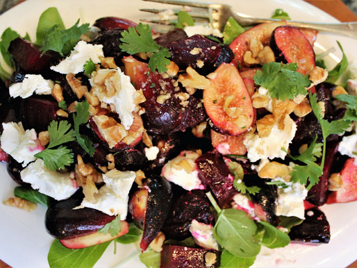 Fig-Beet Salad with Goat Cheese, Walnuts & Citrus Vinaigrette (VIDEO)