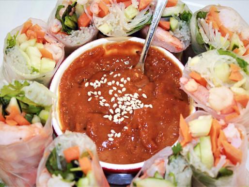 Spring Rolls with Shrimp and Probiotic Peanut Butter Sauce + Bonus Old Bay Seasoning (VIDEO)