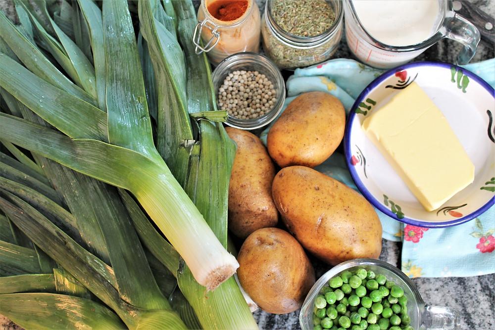 leeks, potatoes, peas, butter, cream, thyme, white pepper
