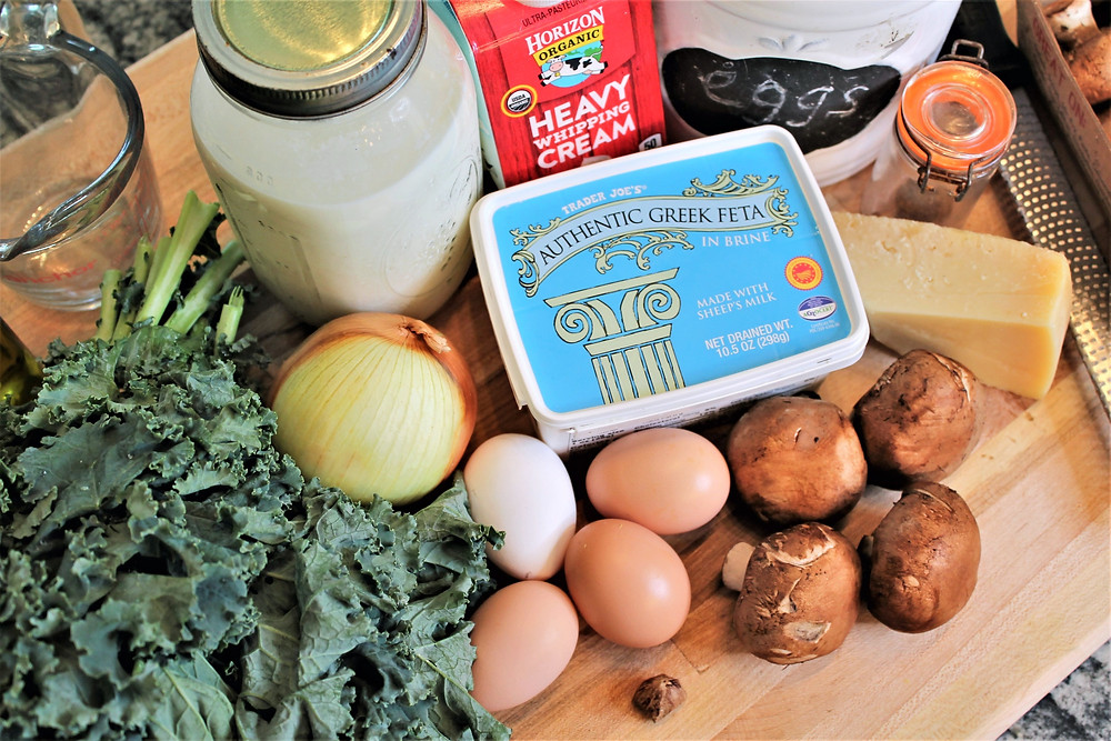 milk, cream, kale, eggs, parmesan, onion, feta, mushrooms
