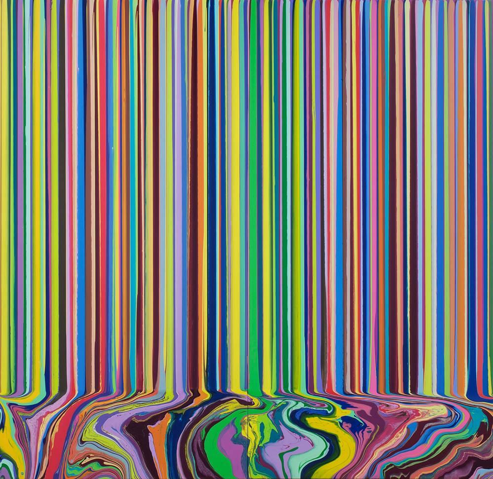 Ian Davenport, Colourcade: Yellow, Magenta, 2015, acrylic on stainless steel mounted on aluminium panels (2 panels), 200 x 200 cm