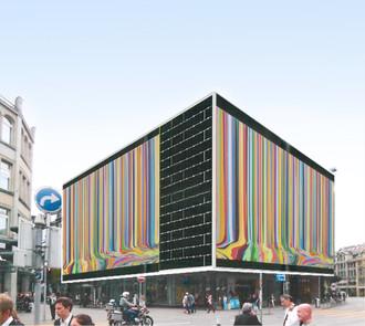 The façade of Jelmoli Haus sports public pop-up by Ian Davenport