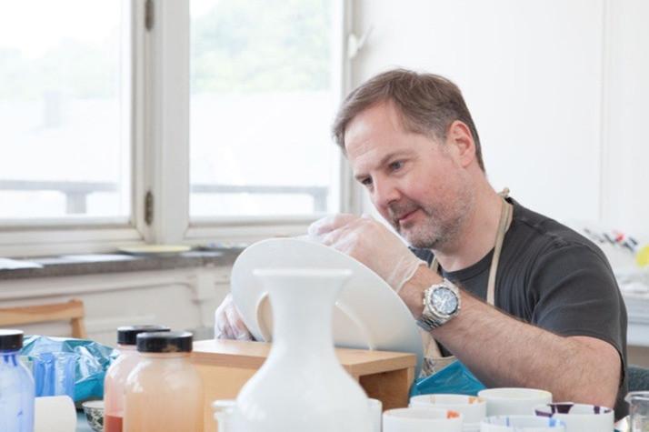 Ian Davenport in his studio