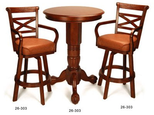Honey Pedestal Pub Table and 2 Stools