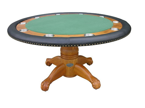 "60"" Round Oak Poker Table"