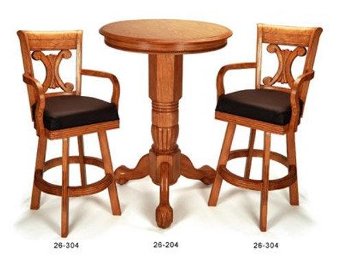 Oak Pedestal Pub Table and 2 Stools
