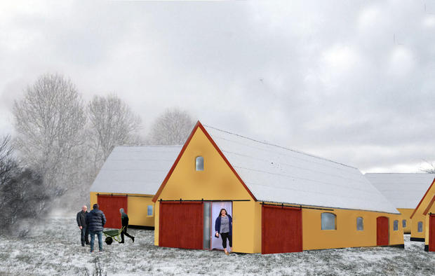 Proposal for new housing units, a re-interpretation of the four-sided farm I Photomontage by Anna Sofie Hvid.