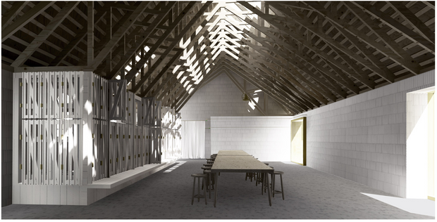 Proposition for a public space in the former barn I Rendering by Anders Abraham og Peter Møller Rasmussen. Rendering Peter Møller Rasmussen.