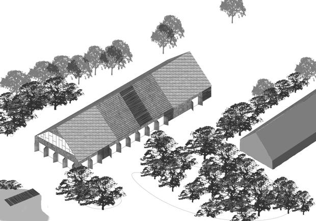 Concert Hall expanding into the garden I Drawing by Rural Agentur