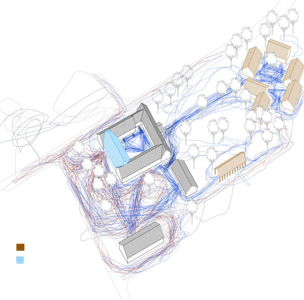 Site plan, overlapping path ways, private and public use I Drawing Gui de Vore & Anna Sofie Hvid.